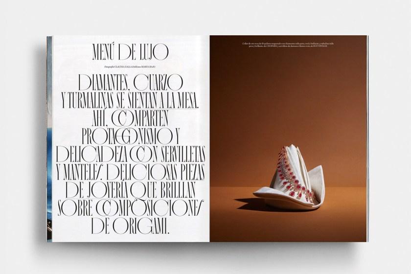 Nostalgia. Diseño de alfabeto o familia completa de Extratype / Extra Estudio para Vogue España. «Una tipografía perfecta, meticulosa y delicada, que se adapta con precisión a las necesidades formales y editoriales de la revista. Complemento de la ya reconocida Chamberí e ideada para celebrar las tendencias antiguas del Art Decó».