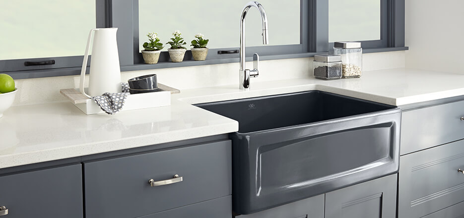 gray kitchen sink waypoint cabinets sinks dxv luxury and farm hillside collection