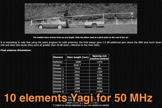 10 elements yagi for 50 MHz