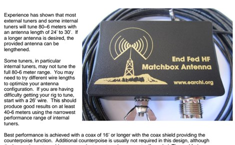 End Fed Half Wave Antenna for 6 / 40 Meter