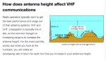 How does antenna height affect VHF communications