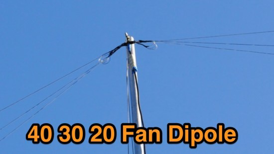 Compact fan dipole for 40 30 and 20 meters band