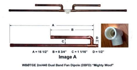 Mighty Woof  2m 70cm Dual Band Fan Dipole