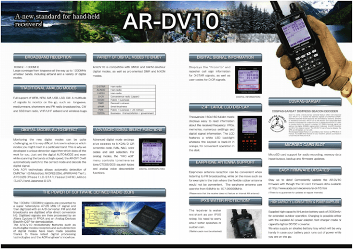 AOR AR DV10 Wide-band SDR Handheld Receiver