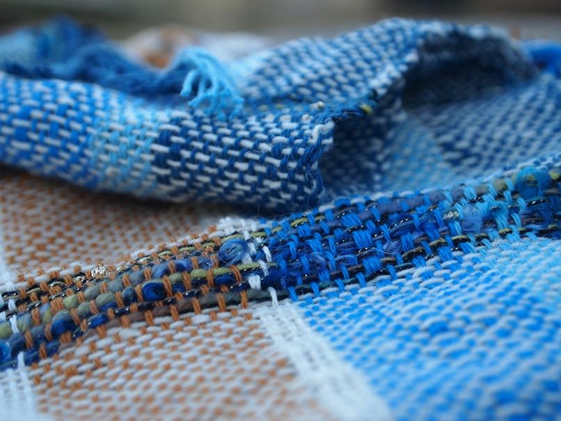 Blue landscape scarf