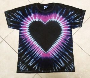 tie dye, tie-dye, tie dyed, tie-dyed, shirt, black, heart