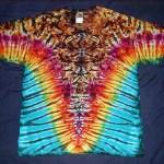 tie dye, tie-dye, tie dyed, tie-dyed, shirt, rusty, blue, marble, vee, rainbow