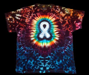 cancer awareness shirt, lung cancer white ribbon, white ribbon t-shirt, dyemasters tie dyes, white ribbon cancer tie dye