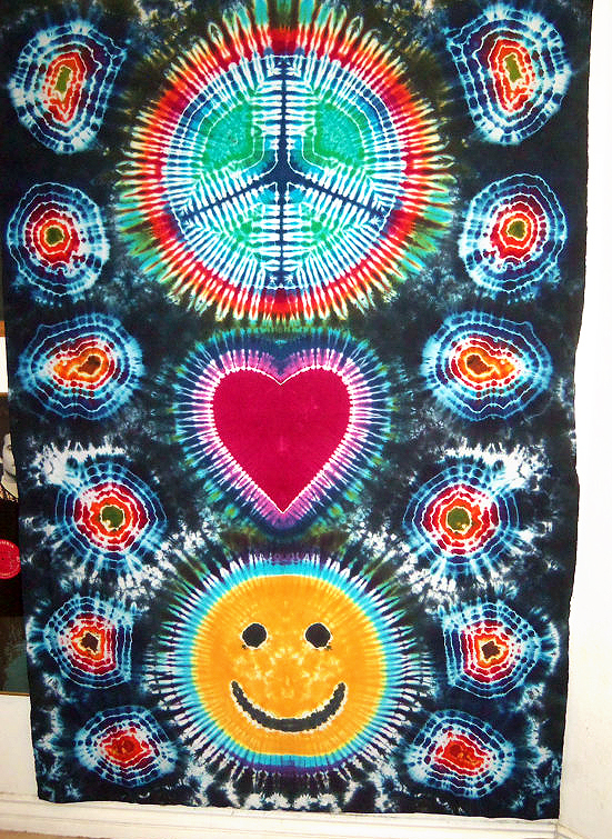 604c2a837ca5 Love Peace Happiness Tie Dye Tapestry - Dyemasters