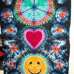 tie dye. tie-dye, tie dyed, tie-dyed, tapestry, tapestries, wall hanging, peace, peace sign, smiley face, heart