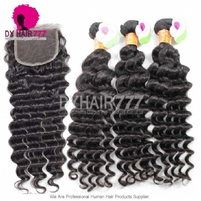 3 or 4 pcs lot cheap indian standard hair weave deep wave 100 human vigin hair extensions