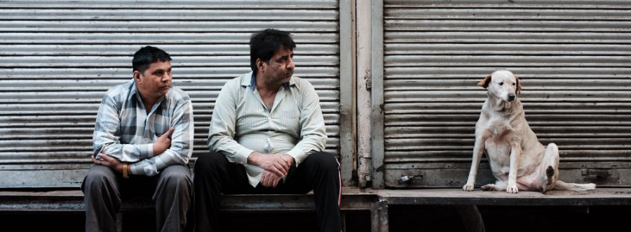 Two Men and a Dog, Jawahar Singh Market, Old Delhi