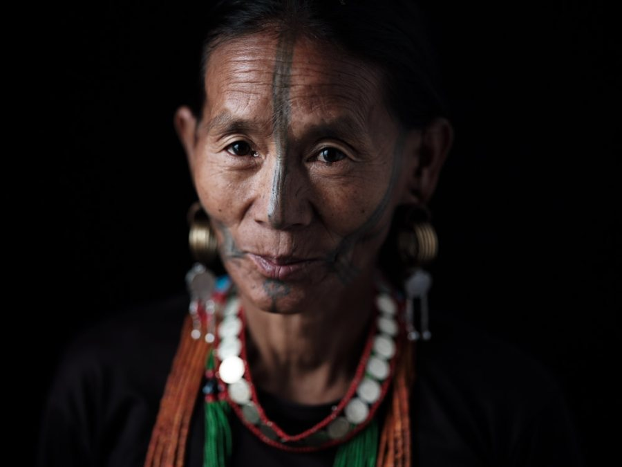 Ollo facial tattoo, Lazu, Arunachal Pradesh, India