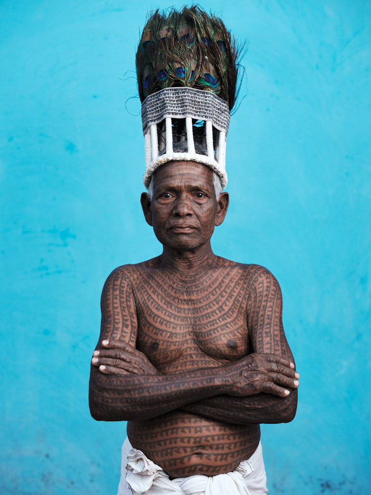 The Ramnami Naksikh, or full-body-tattooed person, is considered the most devout of followers