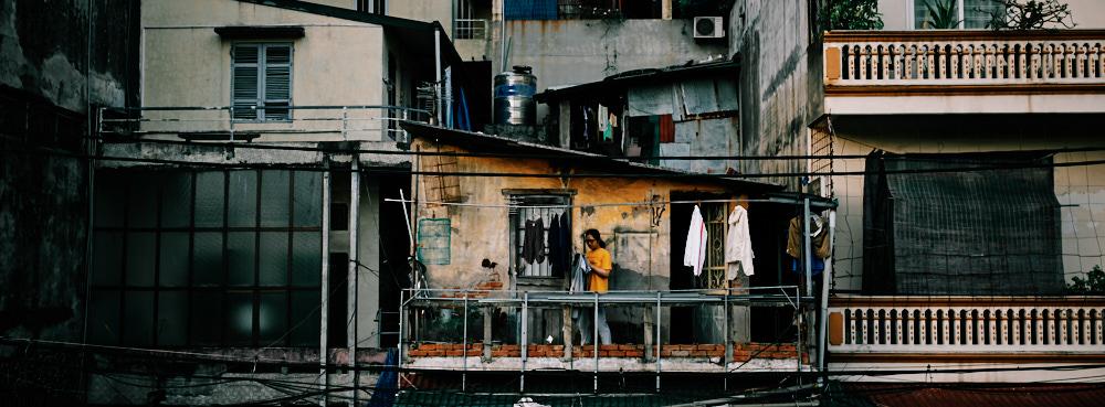 Hanoi, Vietnam - Bringing in the Laundry