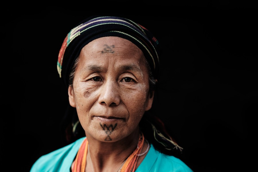 Makuri Naga Woman with Facial Tattoos, Myanmar