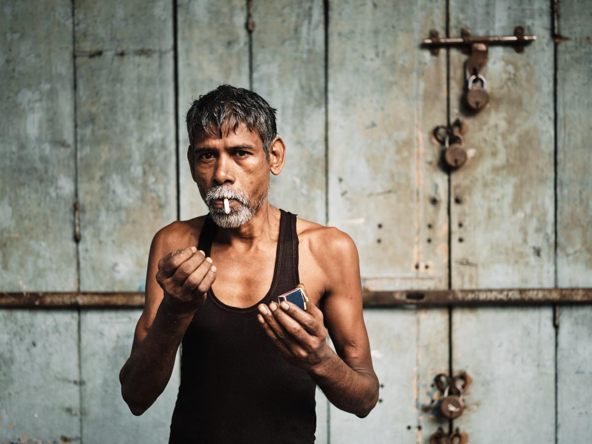 Smoking Man - Guwahati Street Portrait