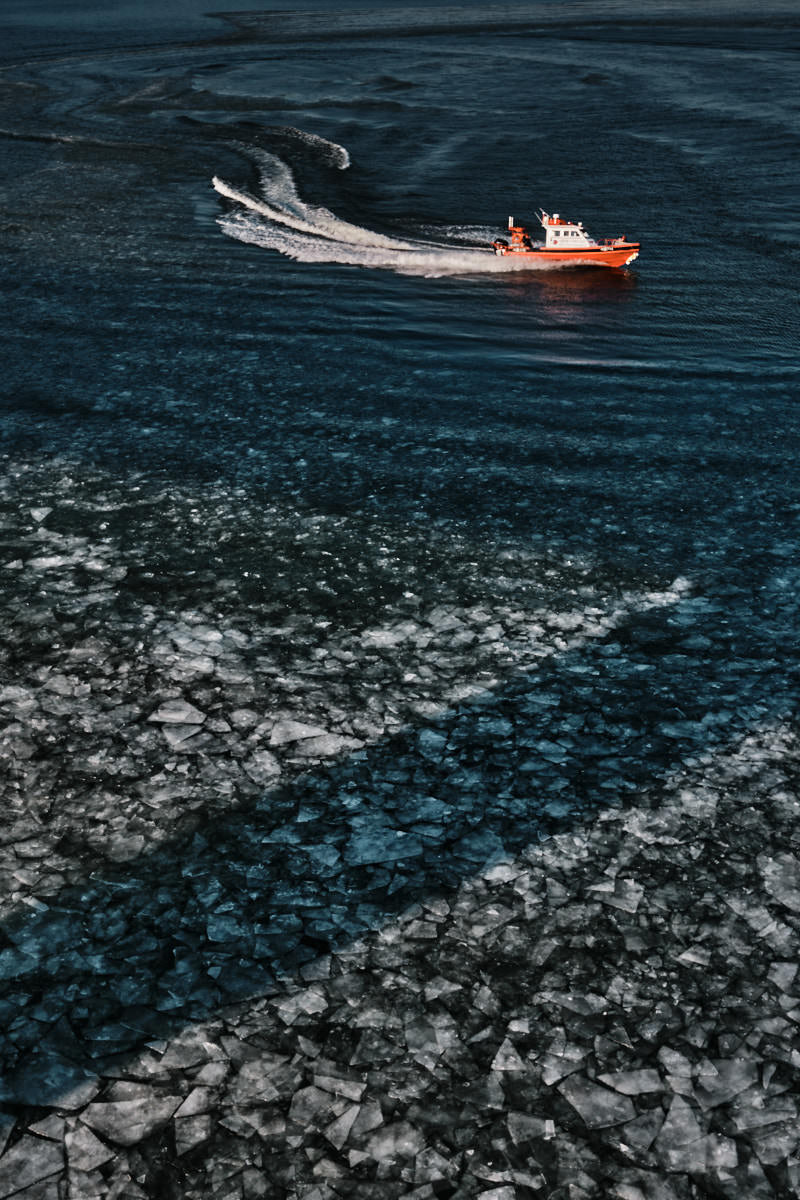 Emergency Services Breaking Ice