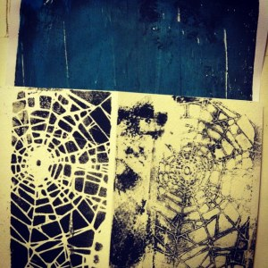 Monoprint of Spider Web for a Halloween Card