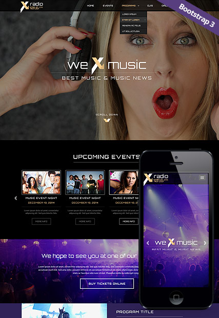 Radio Station Responsive One Page Parallax Template