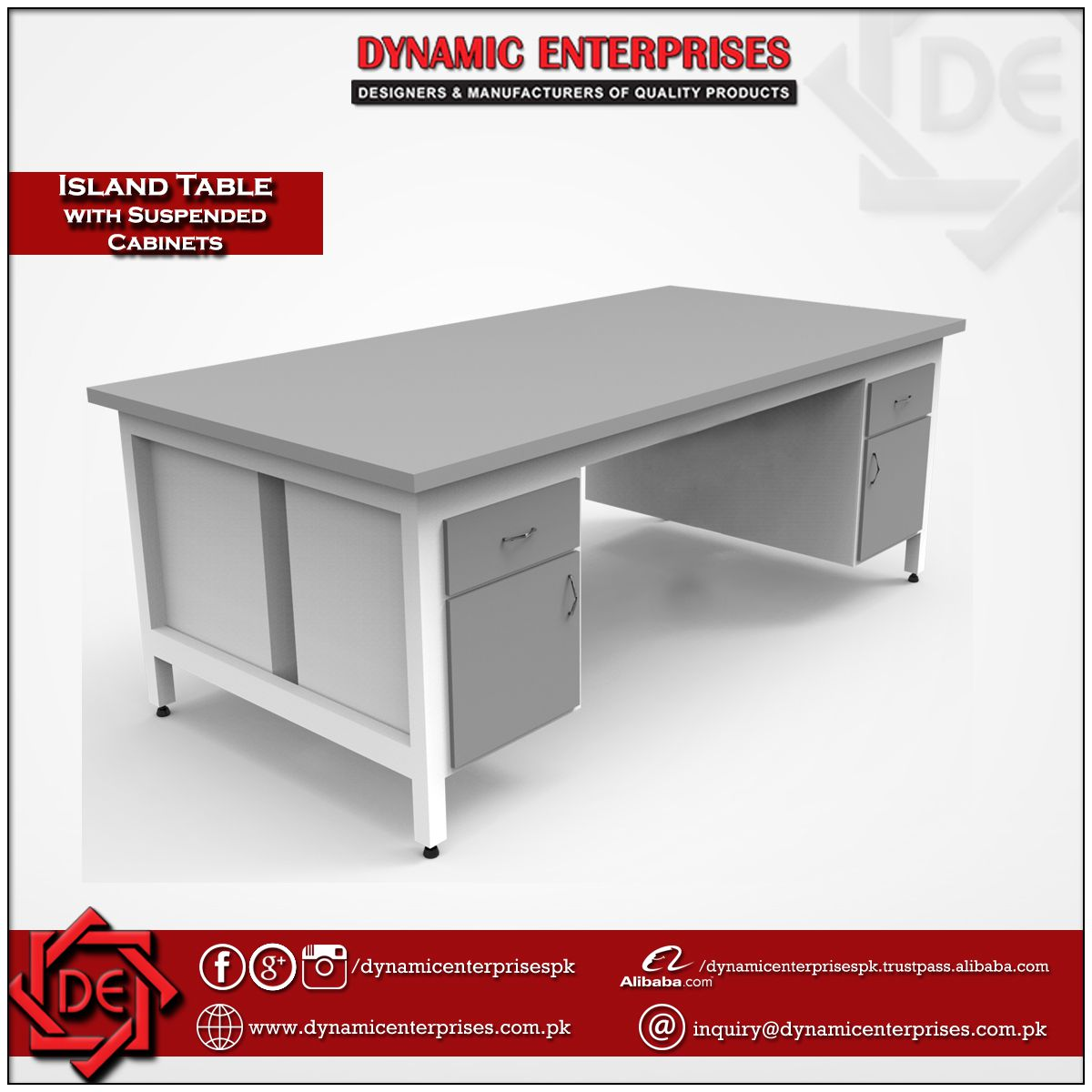 Laboratory Table with Cabinets