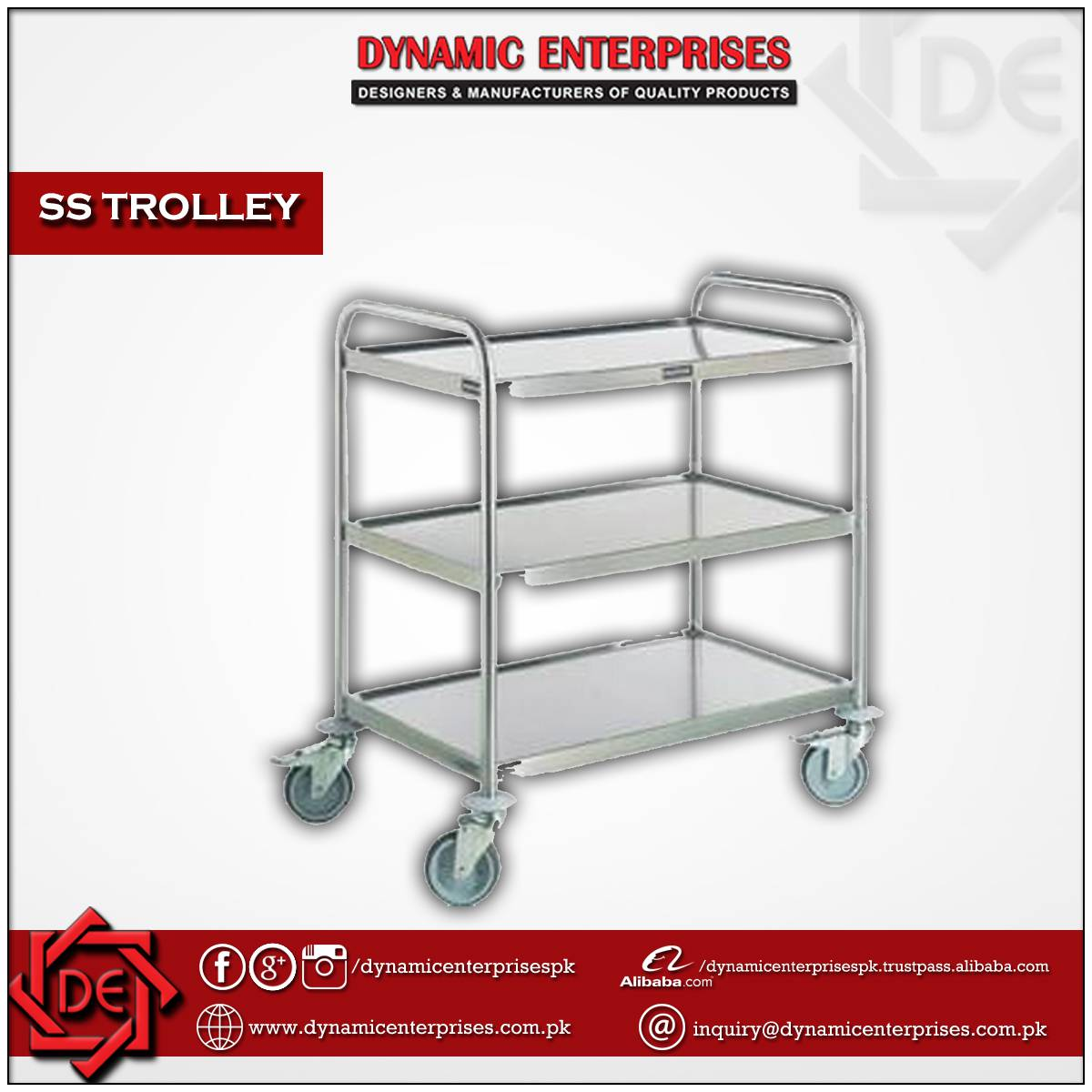 SS Trolley 3 Shelves