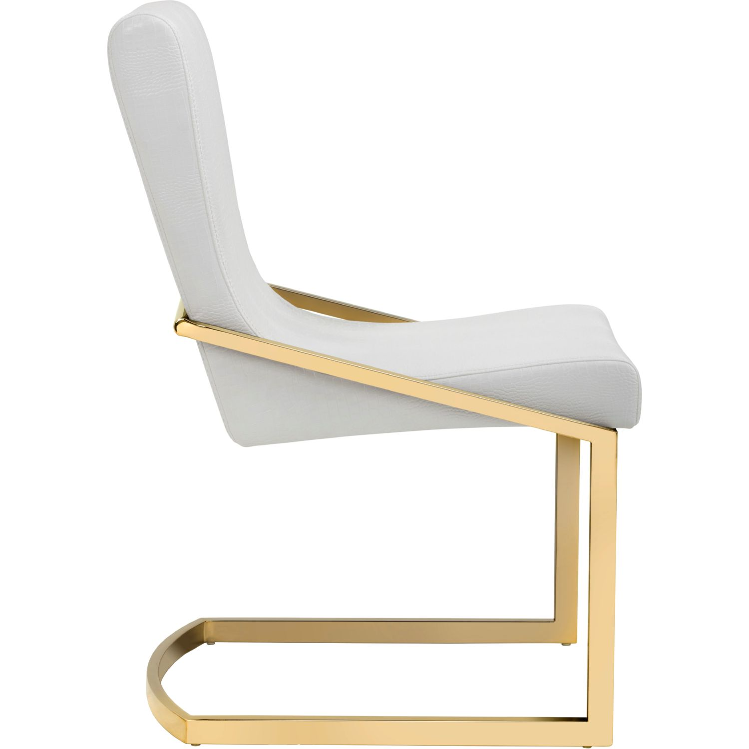 gold dining chairs pink chair club penguin sunpan 101171 marcelle in white croc leatherette on yellow stainless set of 2