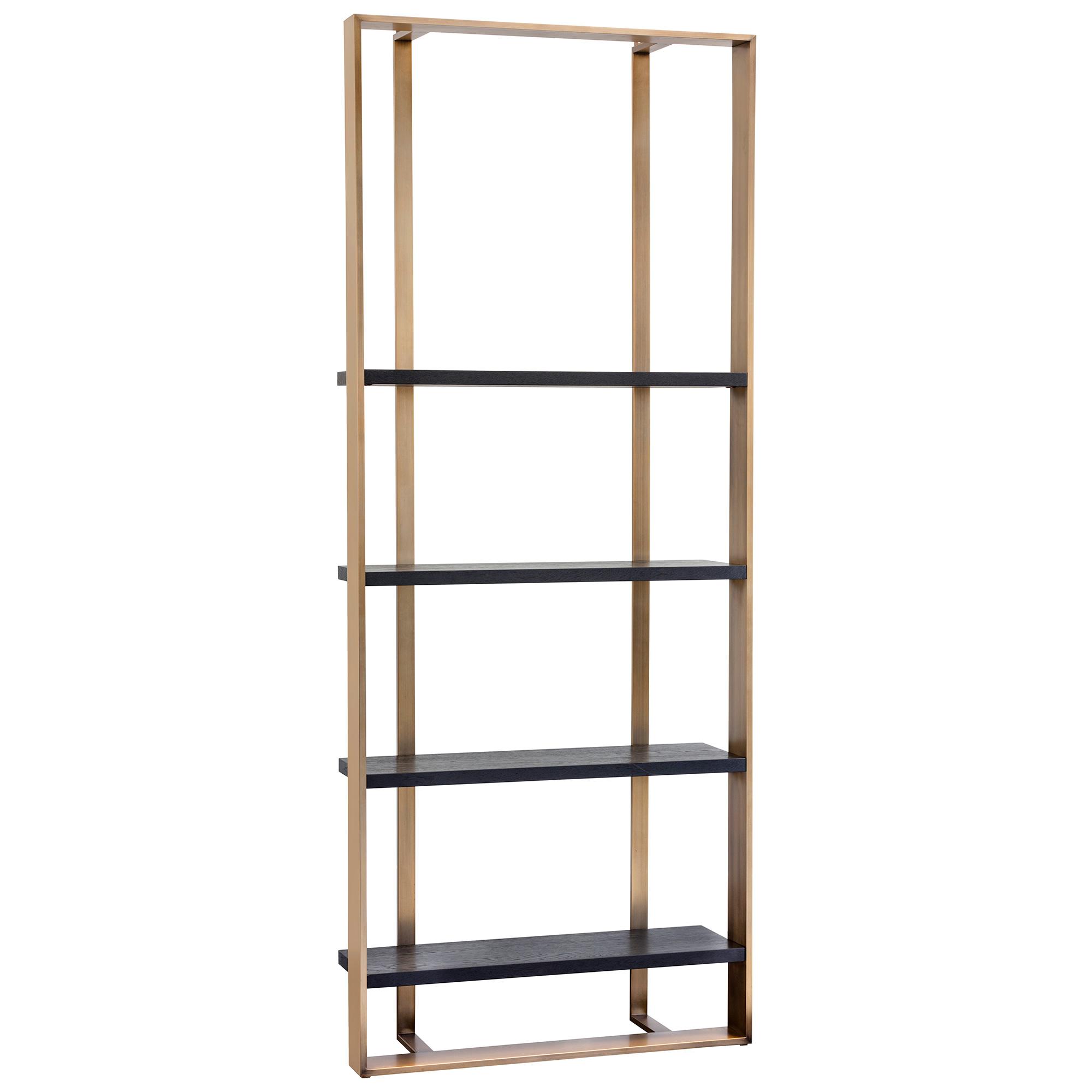 Dalton Bookcase In Antique Brass Frame W Black Oak Shelves By Sunpan