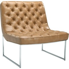 Modern Leather Accent Chairs Circle Bungee Chair Sunpan 100114 Toro In Tufted Peanut On Stainless