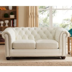 Genuine Leather Sofa And Loveseat Black Corner Next Day Delivery Amax Monaco Slc 100 3 Piece Set Armchair In Diamond Tufted Pearl White By