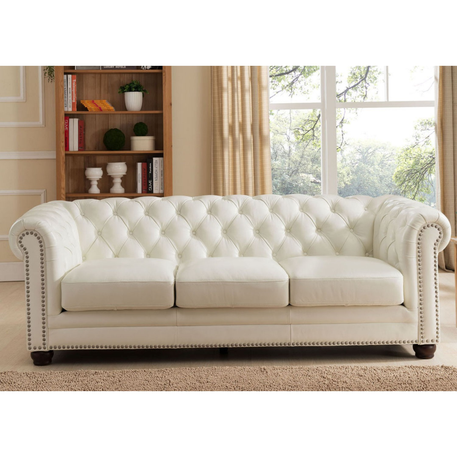 white leather sofa with nailheads long sofas cabinets matttroy