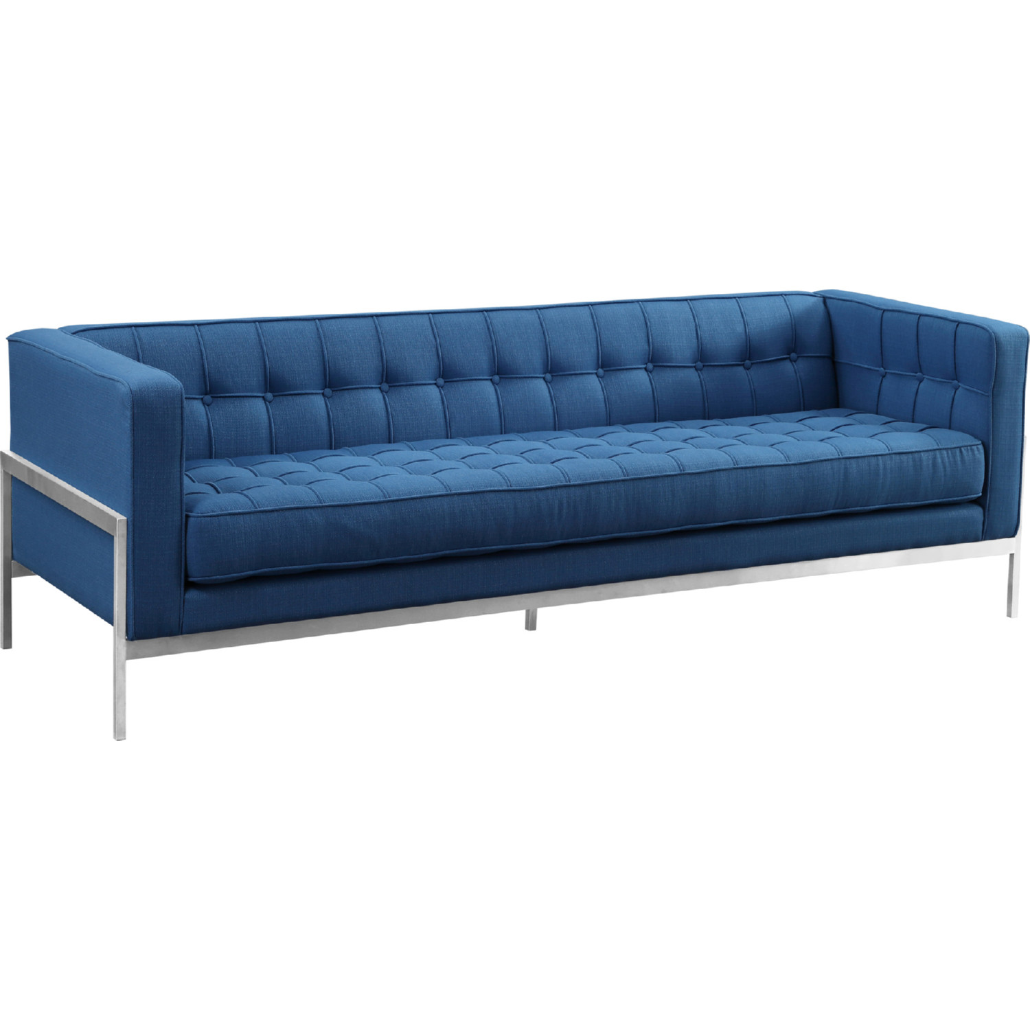 andre sofa power headrest armen living lcan3blue in brushed stainless steel blue fabric by