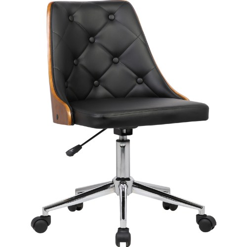 small resolution of armen lcdiofchblack diamond office chair in tufted black leatherette walnut veneer