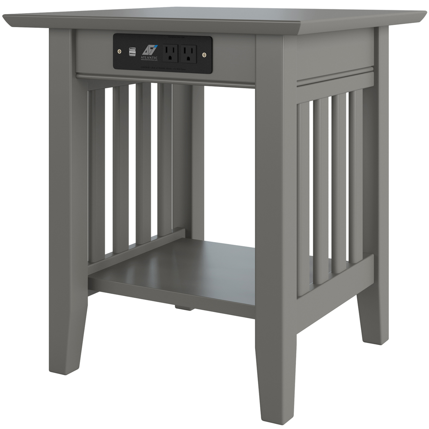 Mission End Table W Charging Station In Grey Wood By Atlantic Furniture