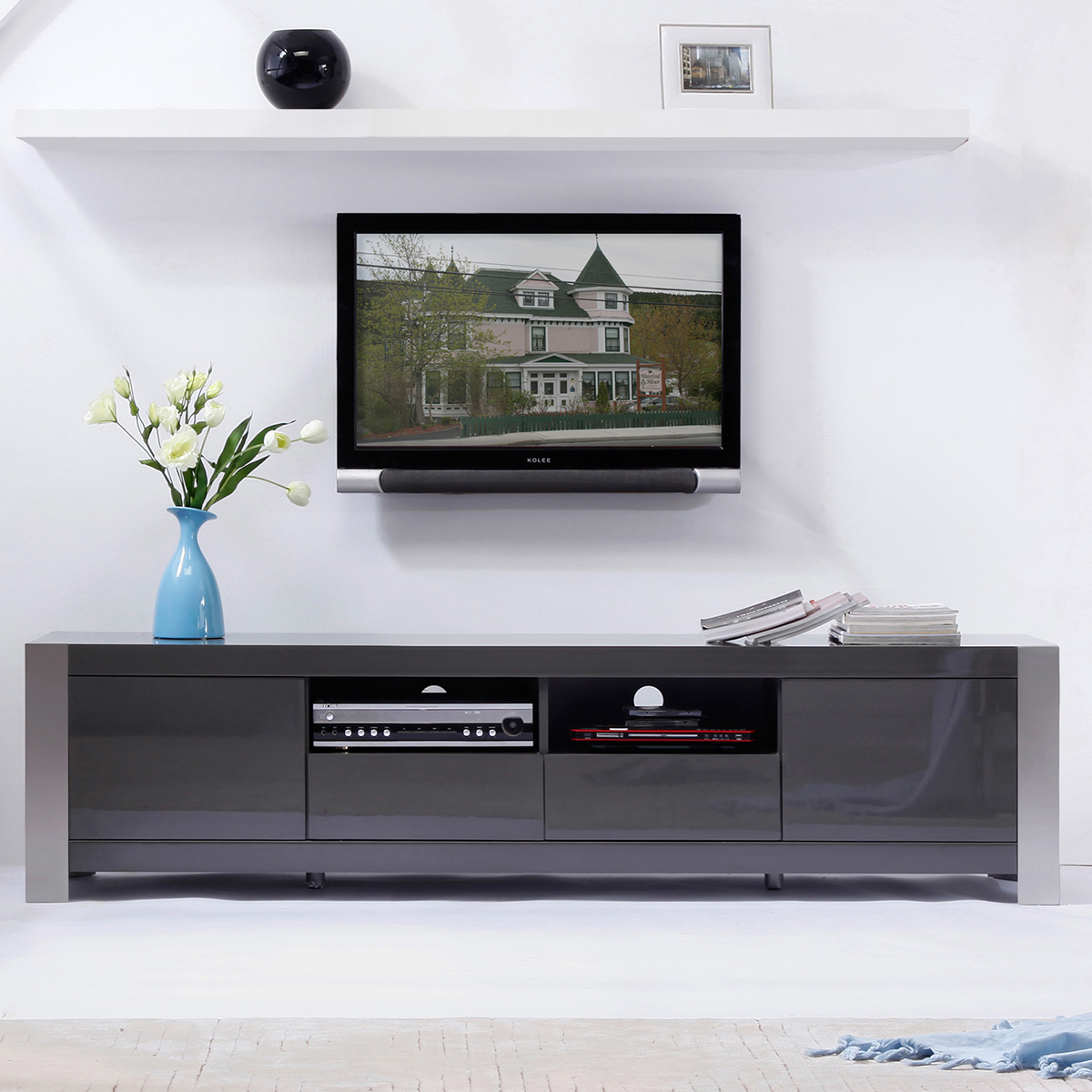 BModern BM100GRY Composer 79 Contemporary TV Stand in