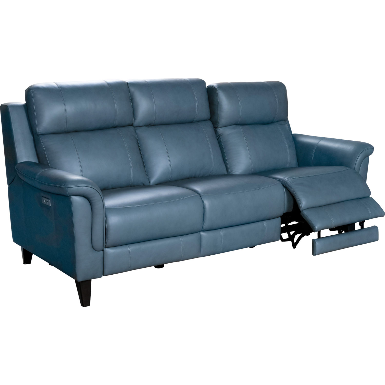 barcalounger 39ph 3716 3727 44 kester power reclining sofa in masen blue gray leather