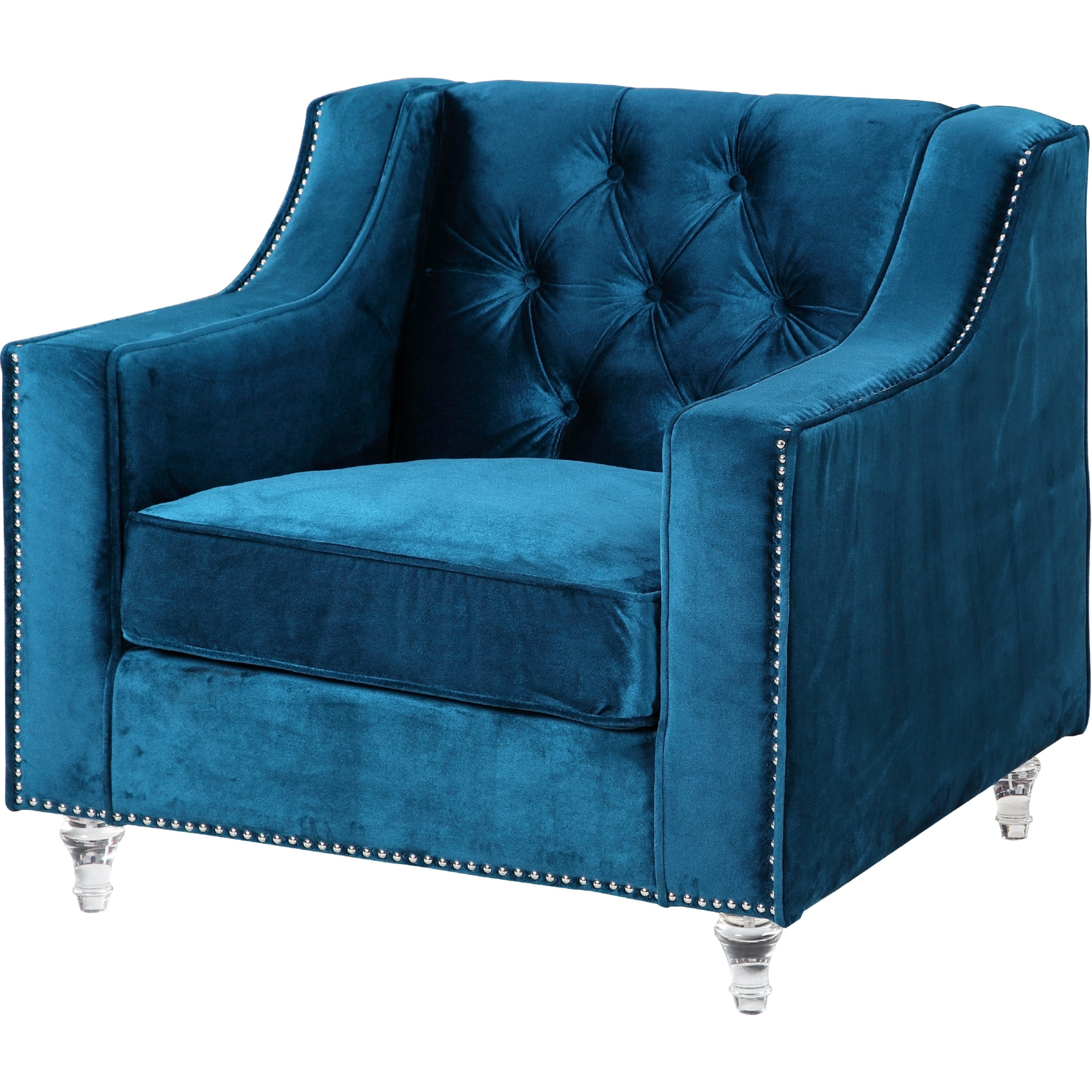 navy blue velvet club chair saucer slipcover chic home fcc2574 dylan in tufted on round acrylic feet