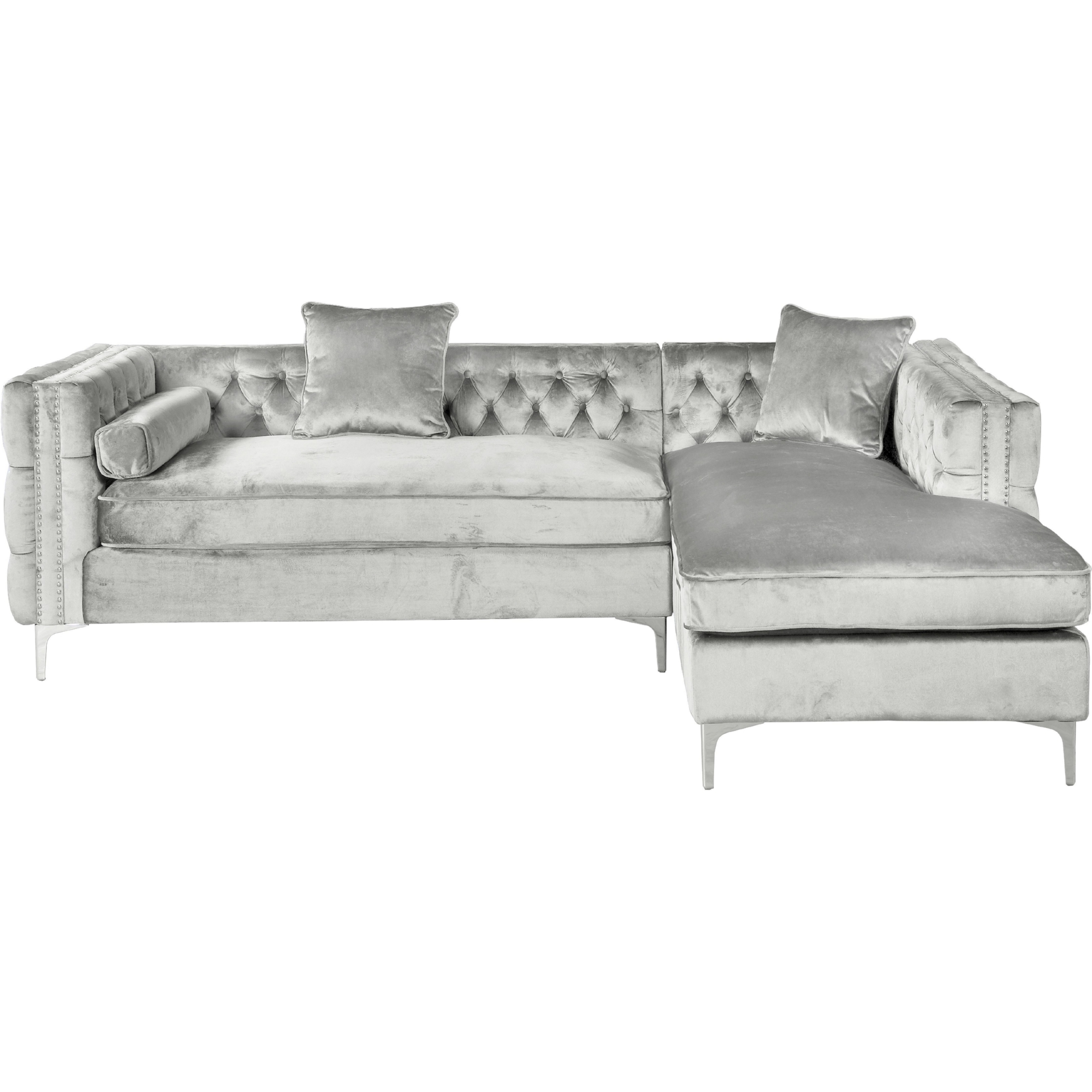 gray velvet sofa with nailheads latest set designs for living room silver sectional and grey couch mulberry ...