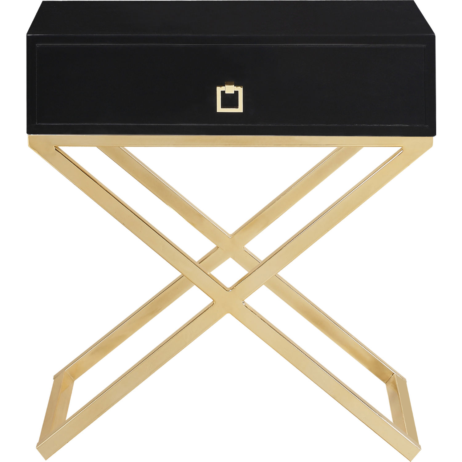 Ithaca Side Table In High Gloss Black Lacquer On Brass Stainless By Chic Home