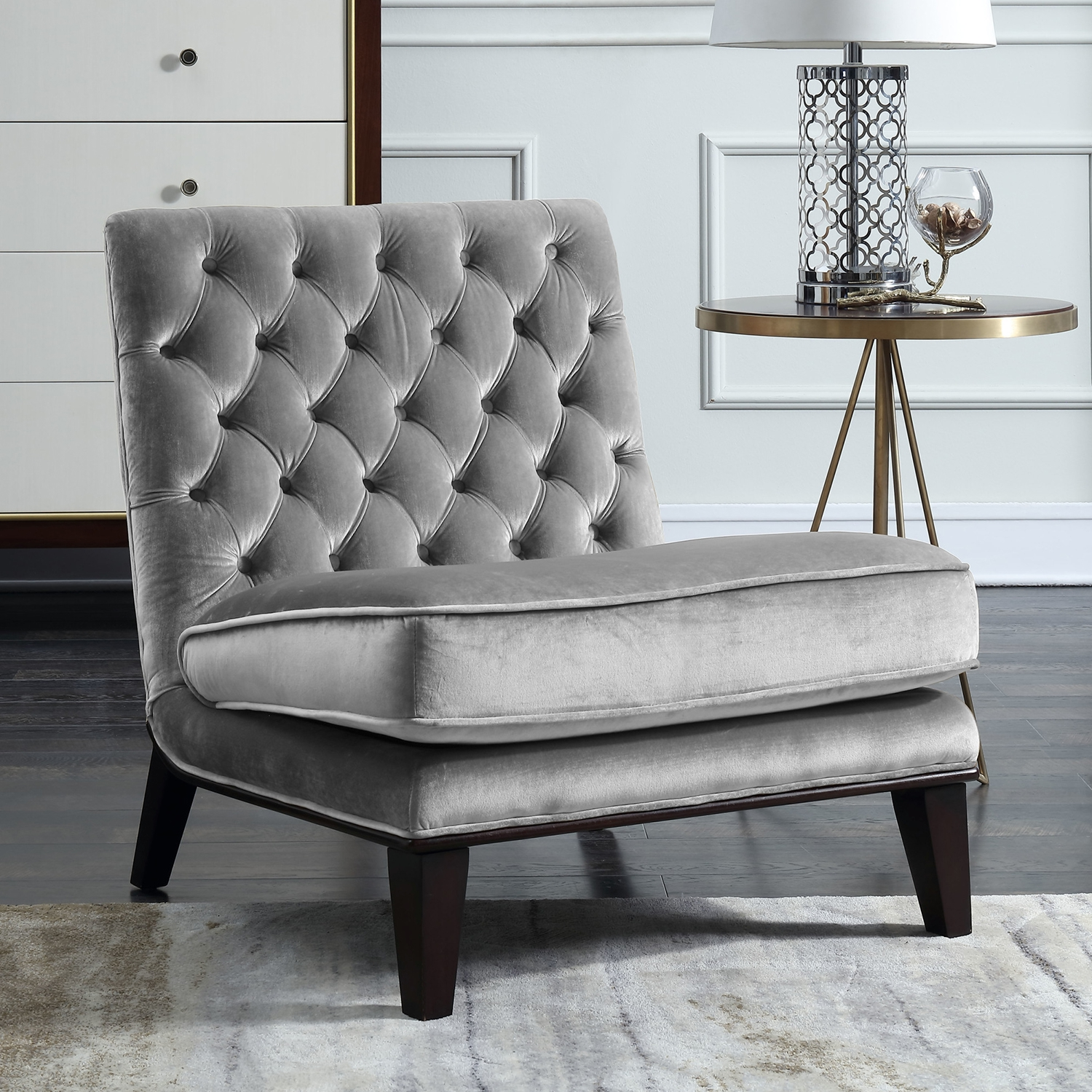 grey velvet slipper chair rv captain chairs for sale chic home fac2694 dr achilles accent in tufted