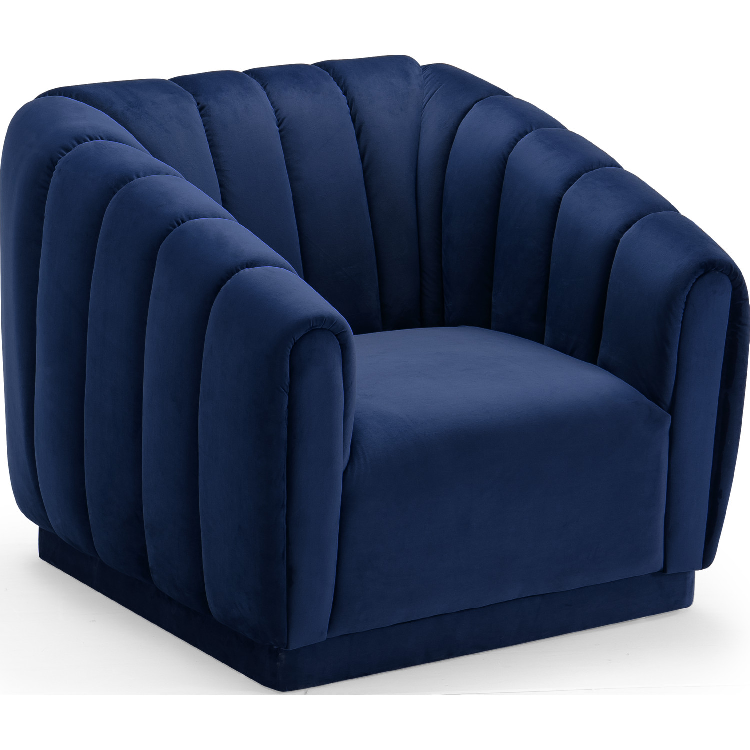 Van Gogh Club Chair In Channel Tufted Navy Blue Velvet By Chic Home