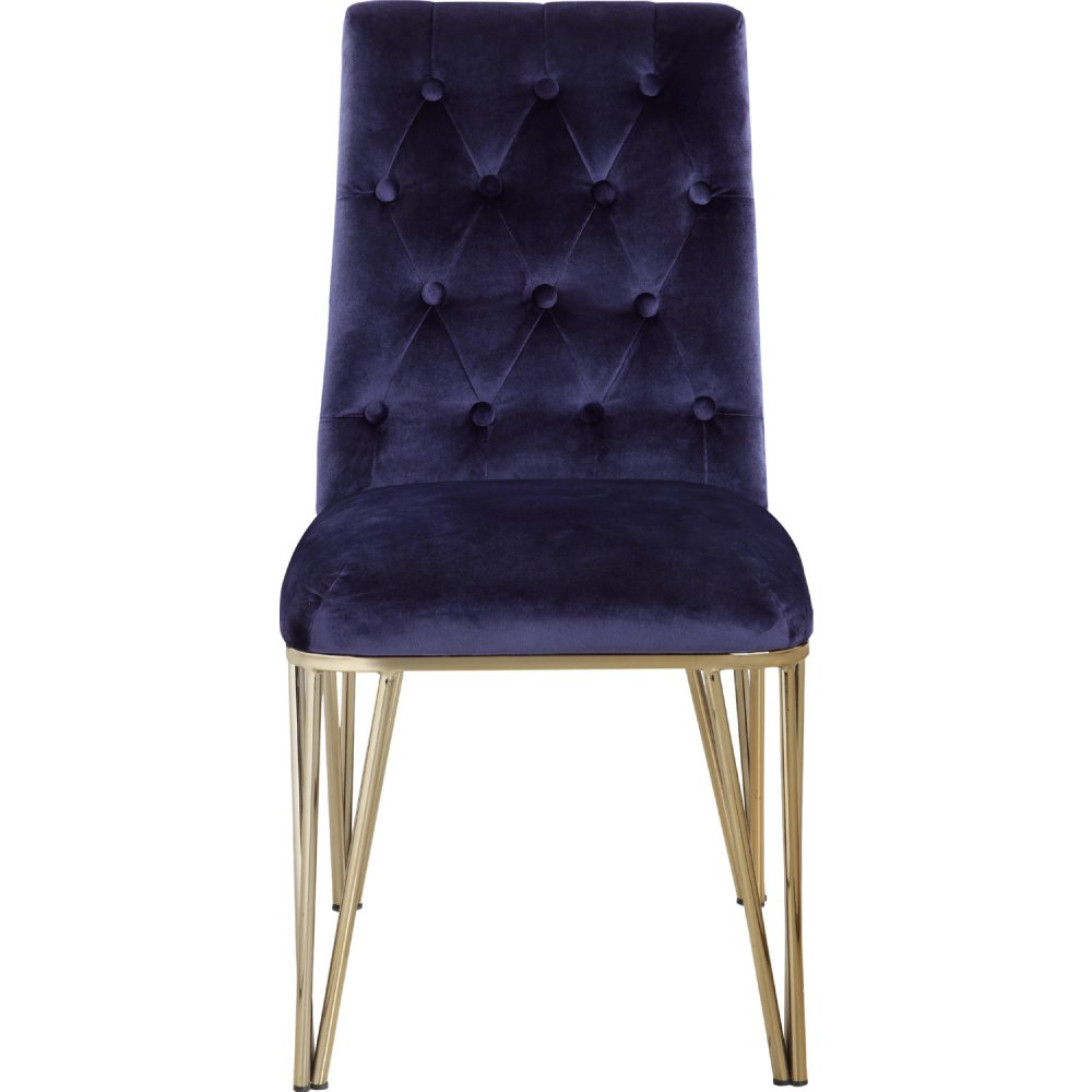 medium resolution of chic home fdc9121 dr callahan dining chair in tufted navy velvet on gold metal set of 2