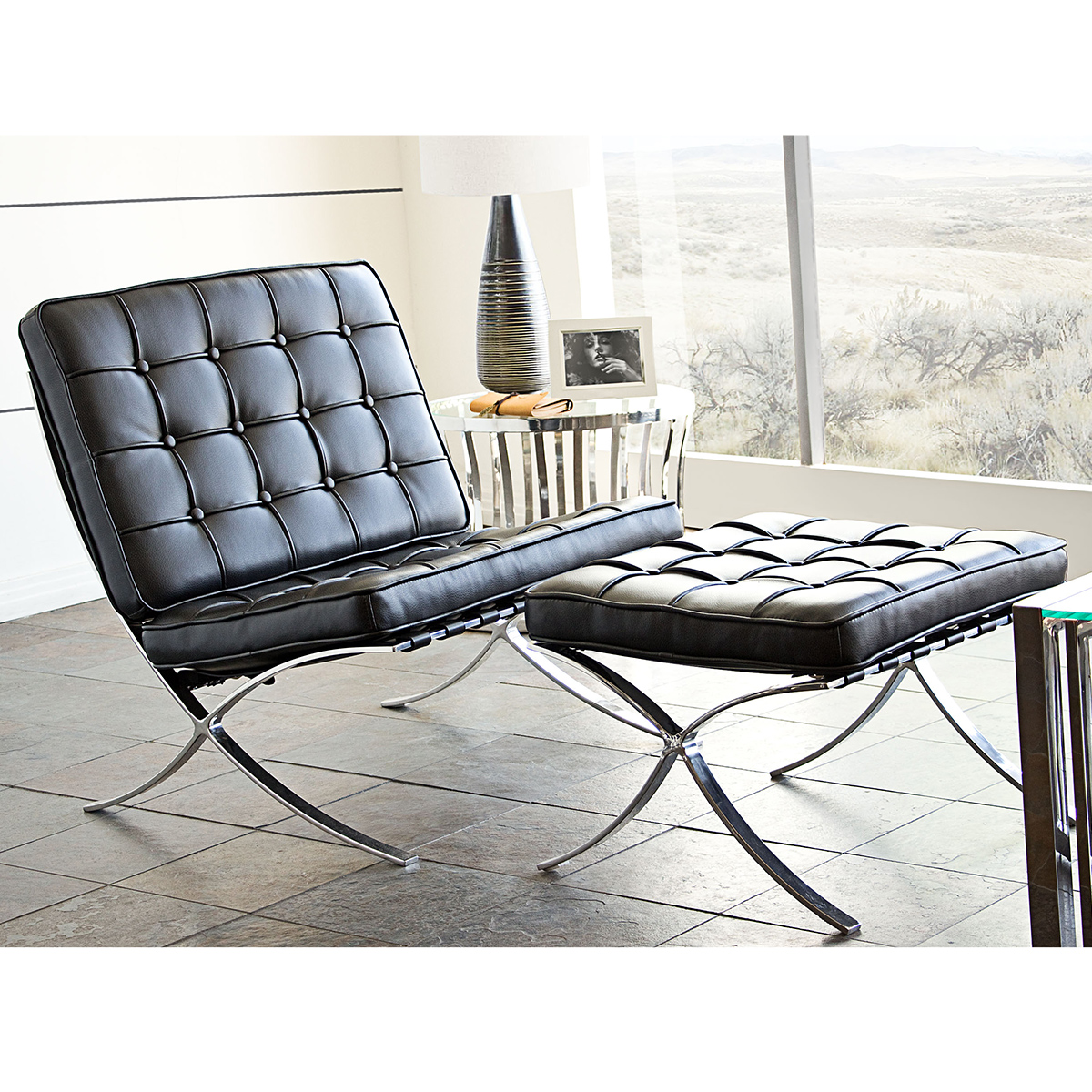 Cordoba Tufted Chair Ottoman Set W Stainless Steel Frame In Black Leather By Diamond Sofa