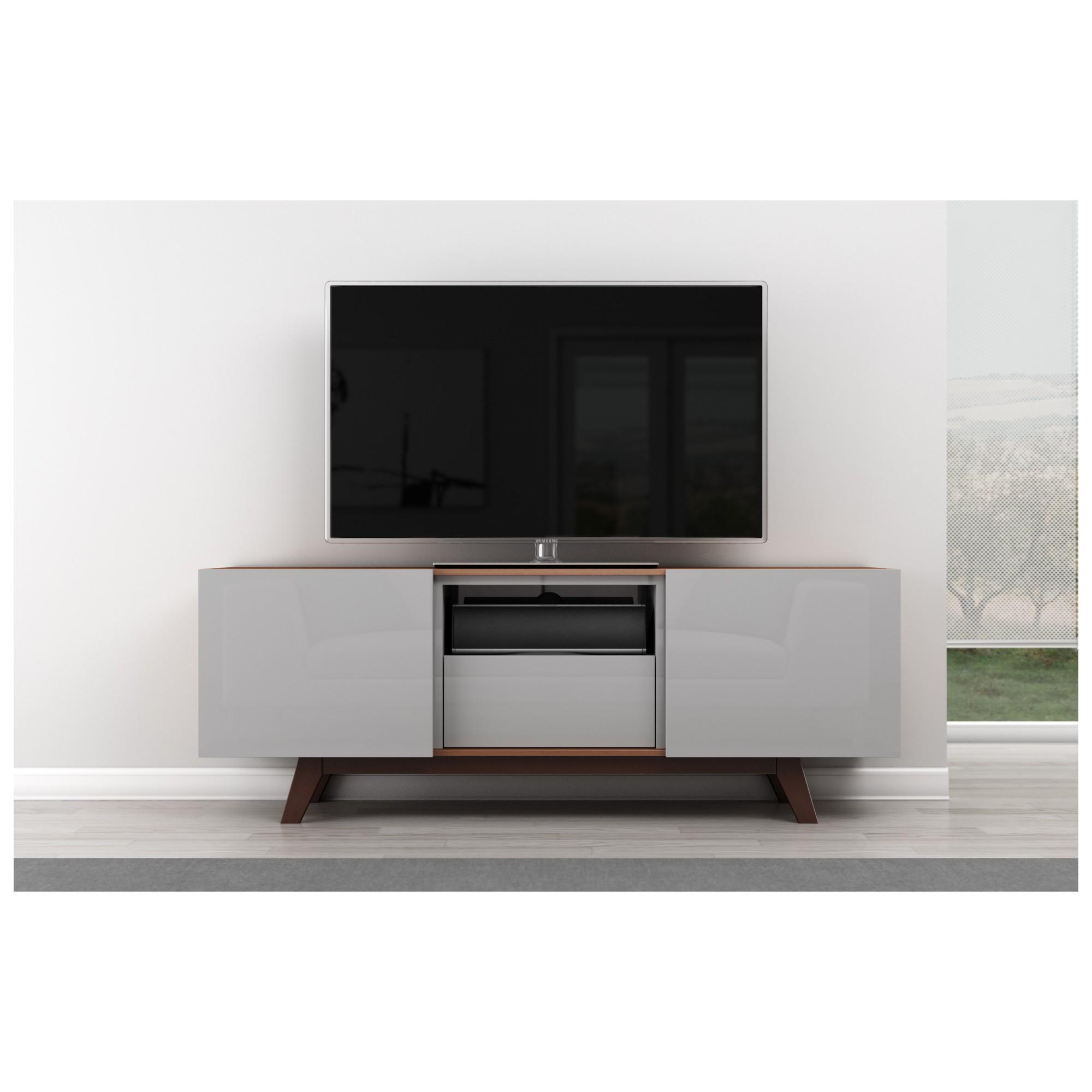 Furnitech FT70R FT70R 70 TV Stand Modern Media Cabinet W Italian Veneer Amp Light Grey High