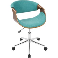Desk Chair Teal Tiger Print Dining Chairs Lumisource Ofc Curvo Wl 43tl Mid Century Modern Office