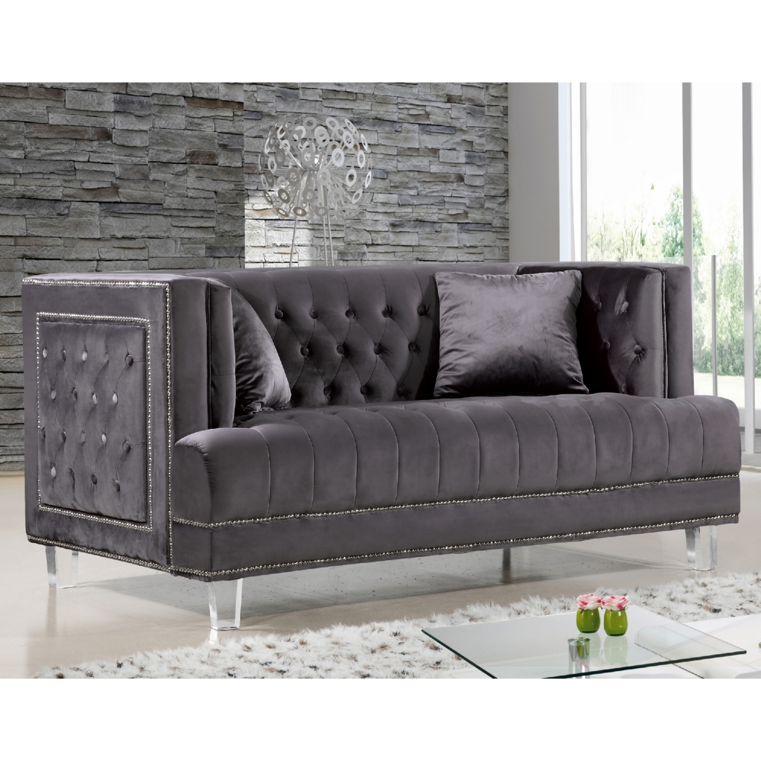 gray velvet sofa with nailheads the brick cindy crawford reclining tufted nailhead meridian furniture 609grey l lucas