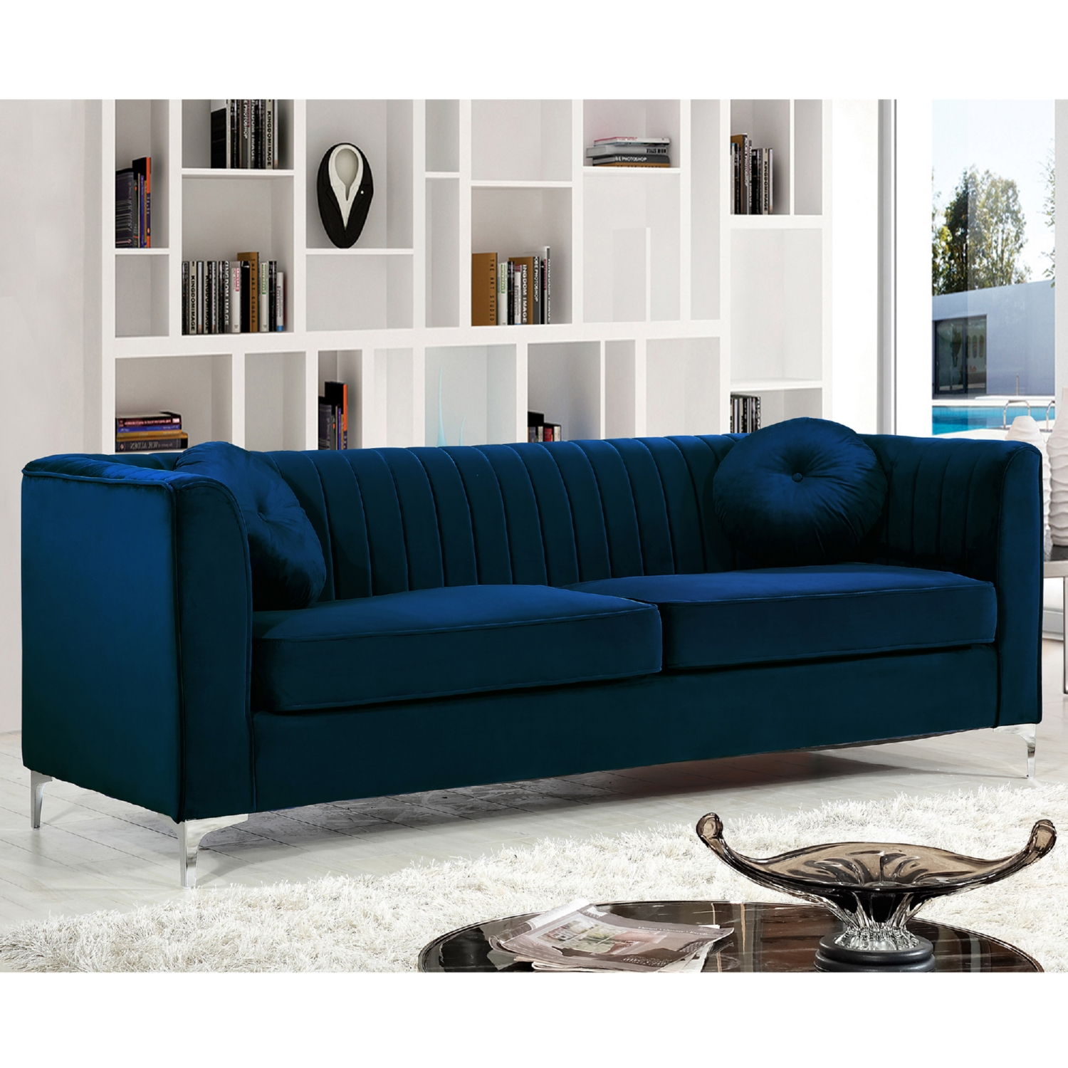 navy leather chesterfield sofa lazy boy reclining with fold down table meridian furniture 612navy s isabelle velvet on