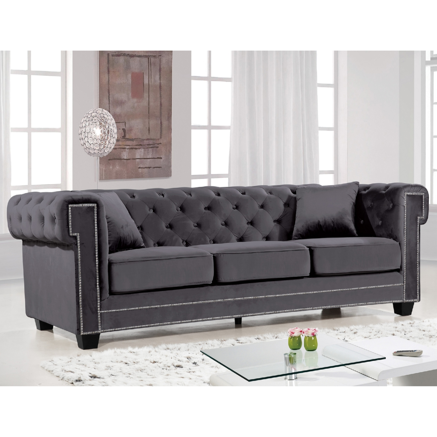 velvet grey tufted sofa frozen foam flip out gray with nailheads