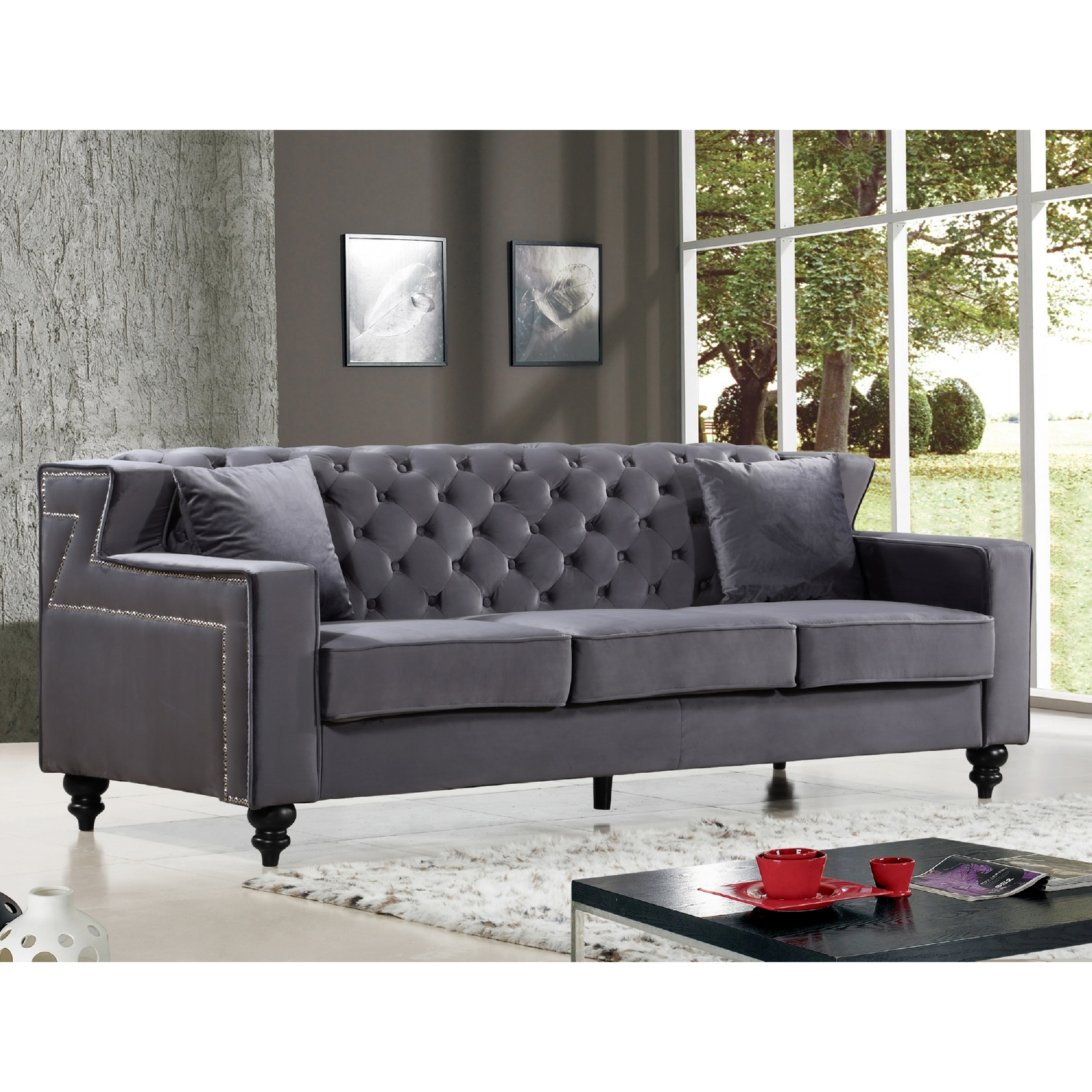 navy blue velvet sofa canada designer sets for sale pune tufted chloe