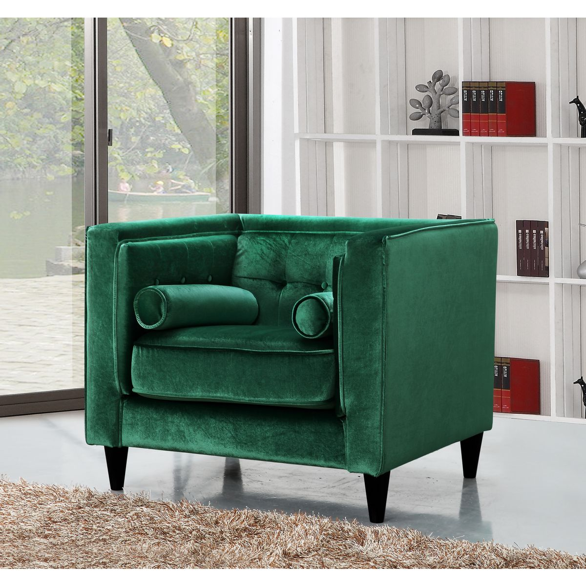 green velvet tufted chair wrought iron lounge meridian furniture 642green c taylor arm